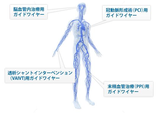様々な領域で使用される各種の血管内治療用ガイドワイヤーを提供しております。